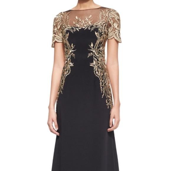 bfa998e366 Marchesa Dresses | Black Gold Embroidered Gown Size 12 | Poshmark